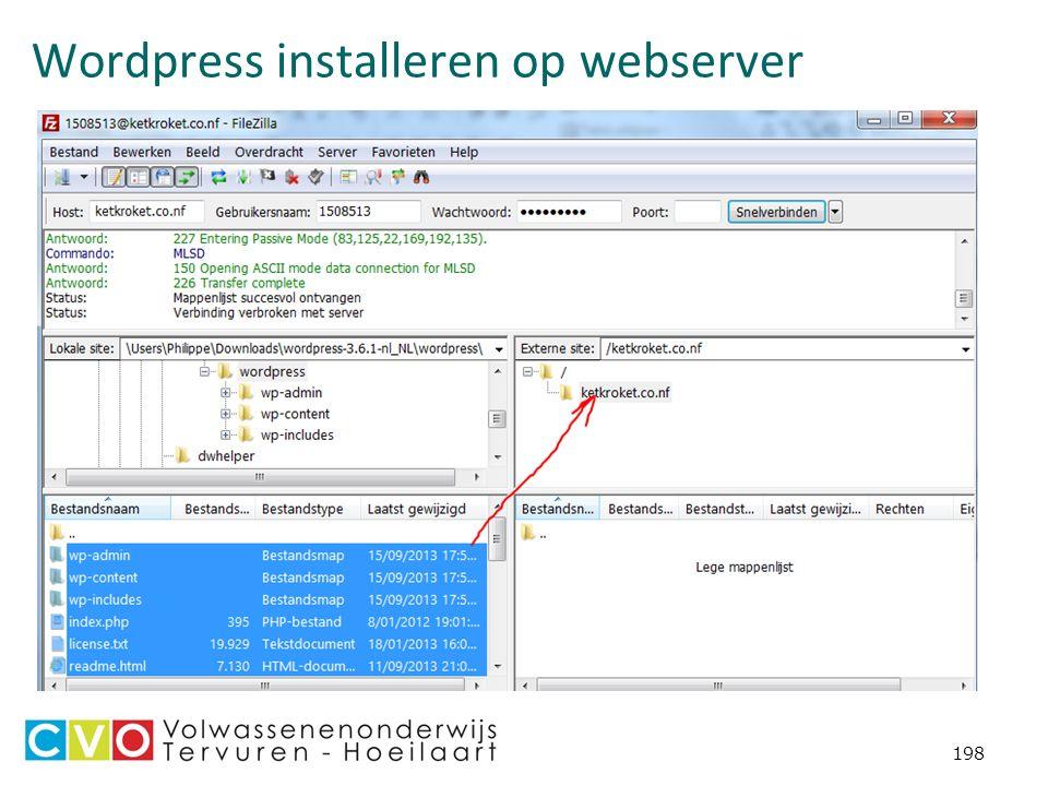 Wordpress installeren op webserver 198