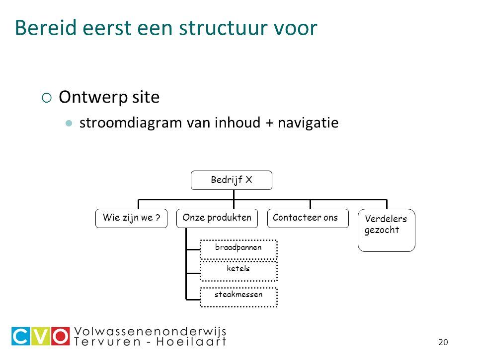 20 Bereid eerst een structuur voor  Ontwerp site stroomdiagram van inhoud + navigatie Bedrijf X Wie zijn we .