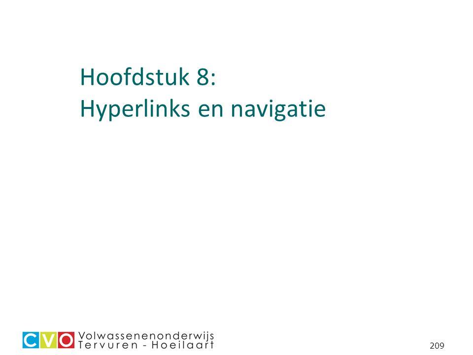 209 Hoofdstuk 8: Hyperlinks en navigatie
