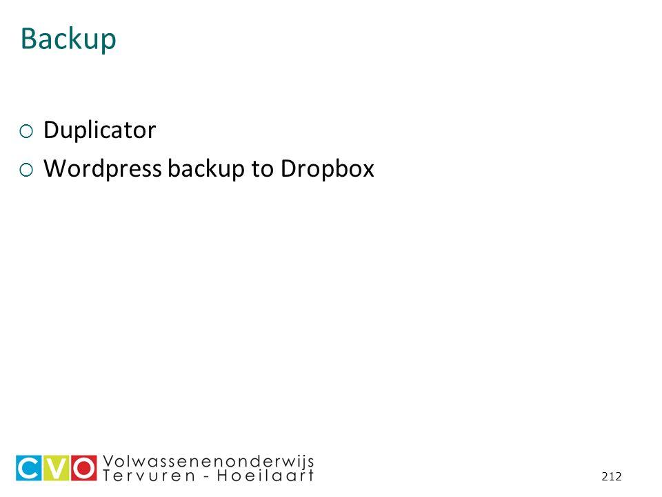 Backup  Duplicator  Wordpress backup to Dropbox 212