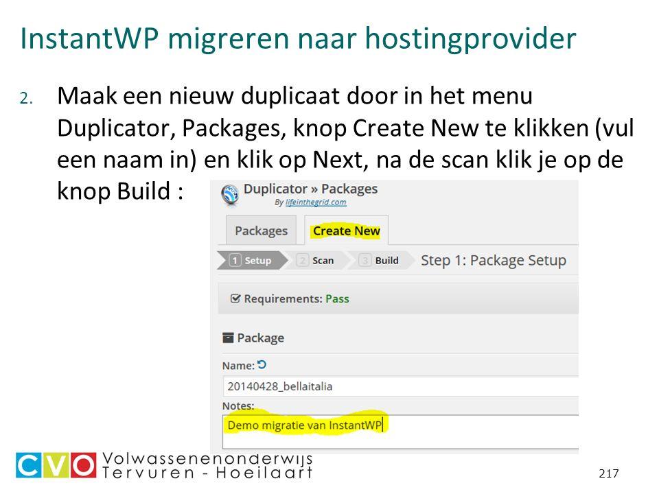 InstantWP migreren naar hostingprovider 2.