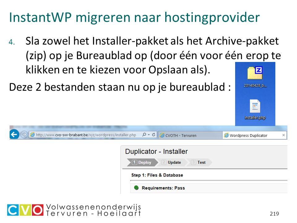 InstantWP migreren naar hostingprovider 4.