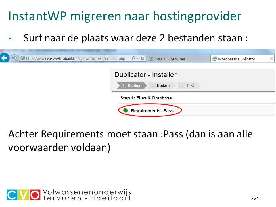 InstantWP migreren naar hostingprovider 5.