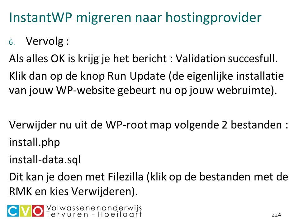 InstantWP migreren naar hostingprovider 6.