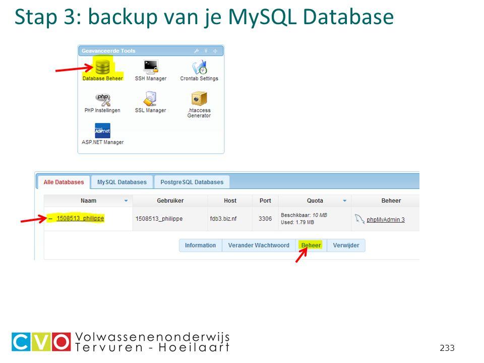 Stap 3: backup van je MySQL Database 233