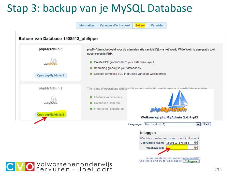 Stap 3: backup van je MySQL Database 234
