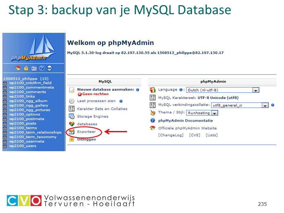 Stap 3: backup van je MySQL Database 235