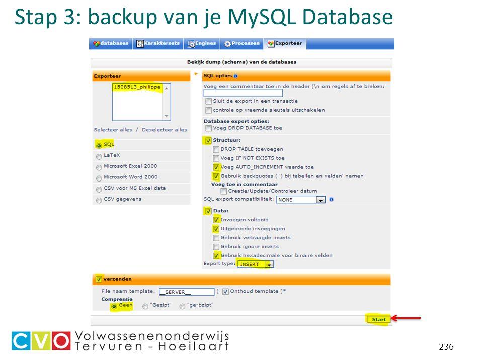 Stap 3: backup van je MySQL Database 236