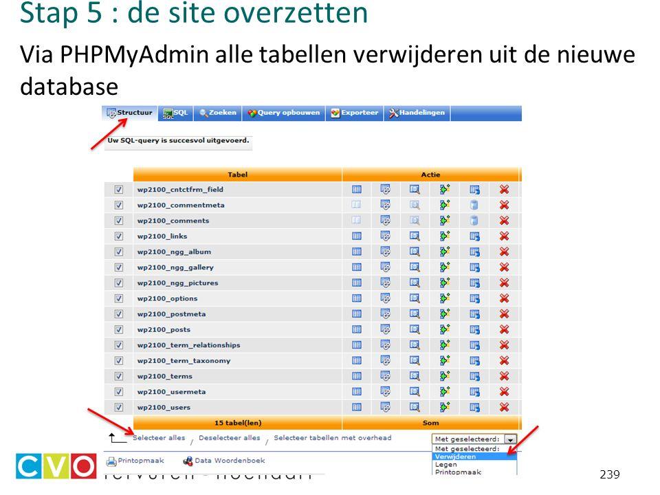 Stap 5 : de site overzetten Via PHPMyAdmin alle tabellen verwijderen uit de nieuwe database 239