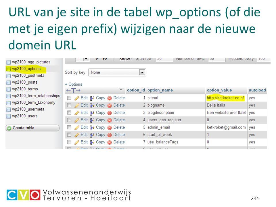 URL van je site in de tabel wp_options (of die met je eigen prefix) wijzigen naar de nieuwe domein URL 241