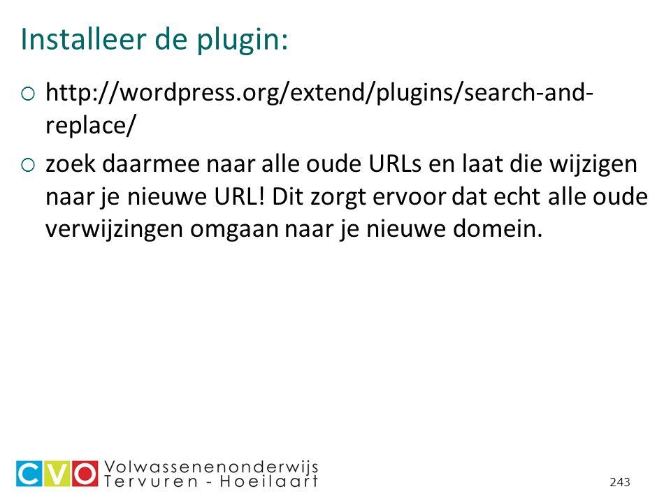 Installeer de plugin:  http://wordpress.org/extend/plugins/search-and- replace/  zoek daarmee naar alle oude URLs en laat die wijzigen naar je nieuwe URL.