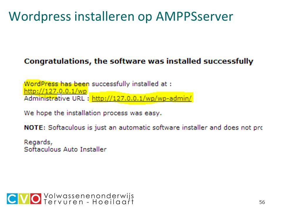 Wordpress installeren op AMPPSserver 56