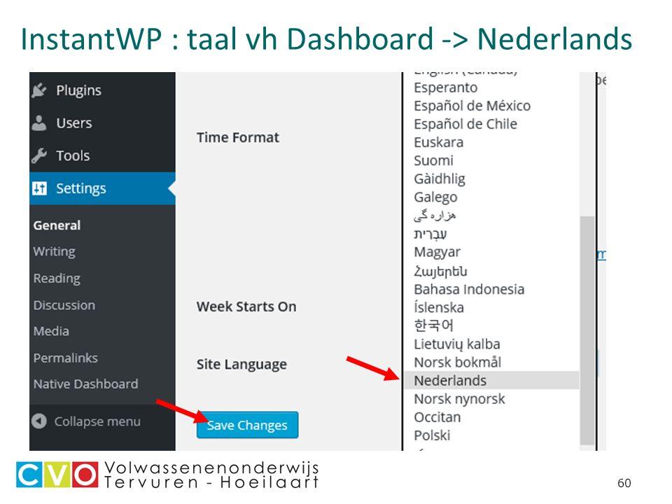 InstantWP : taal vh Dashboard -> Nederlands 60