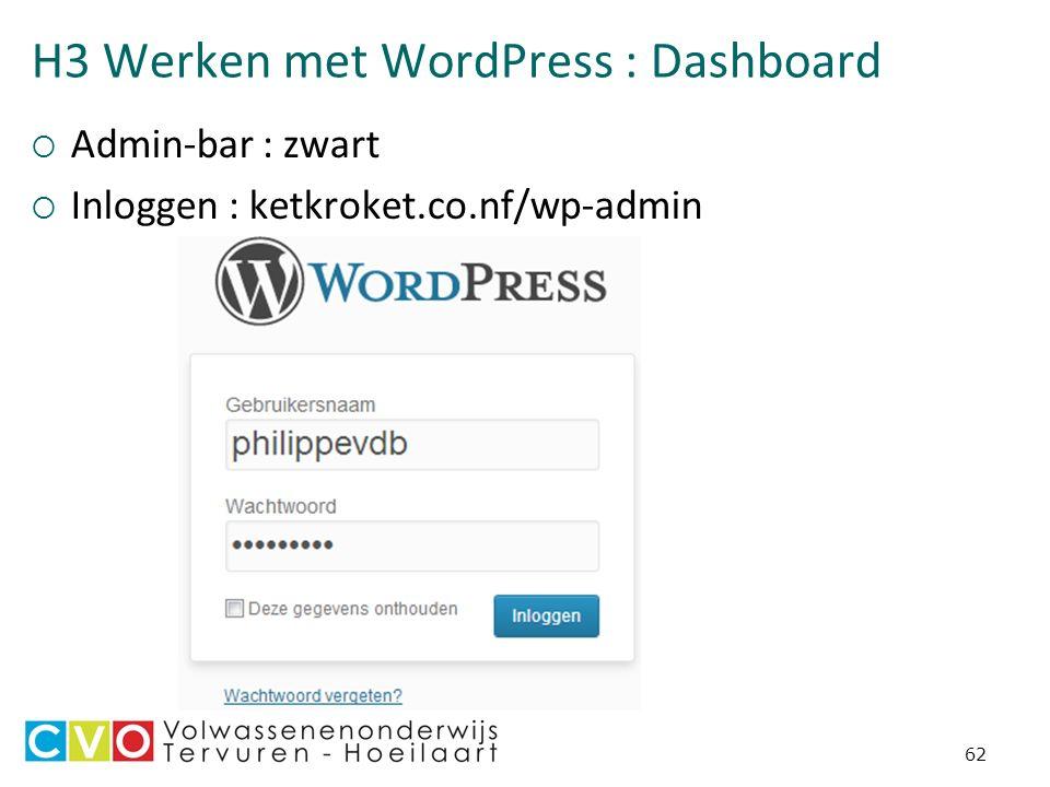 H3 Werken met WordPress : Dashboard  Admin-bar : zwart  Inloggen : ketkroket.co.nf/wp-admin 62