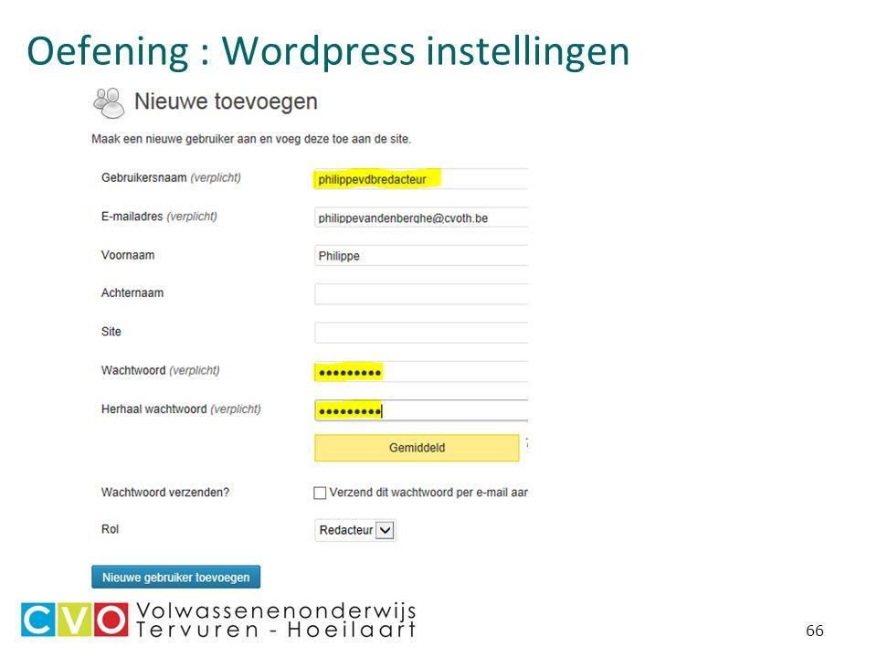 Oefening : Wordpress instellingen 66