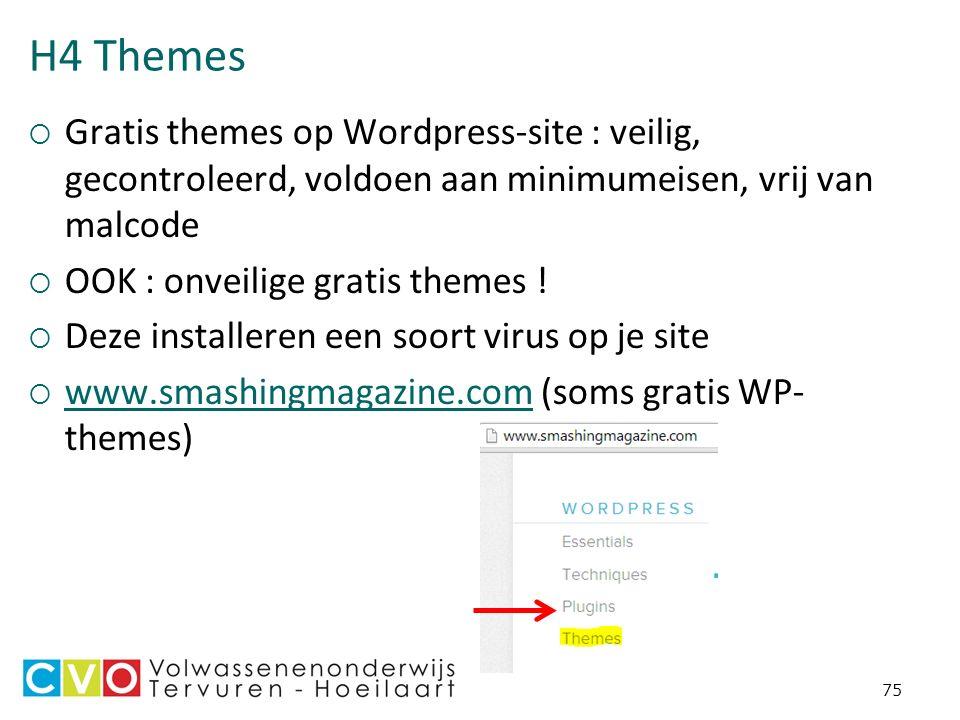 H4 Themes  Gratis themes op Wordpress-site : veilig, gecontroleerd, voldoen aan minimumeisen, vrij van malcode  OOK : onveilige gratis themes .