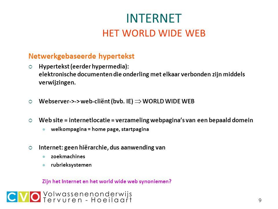 9 INTERNET HET WORLD WIDE WEB Netwerkgebaseerde hypertekst  Hypertekst (eerder hypermedia): elektronische documenten die onderling met elkaar verbonden zijn middels verwijzingen.
