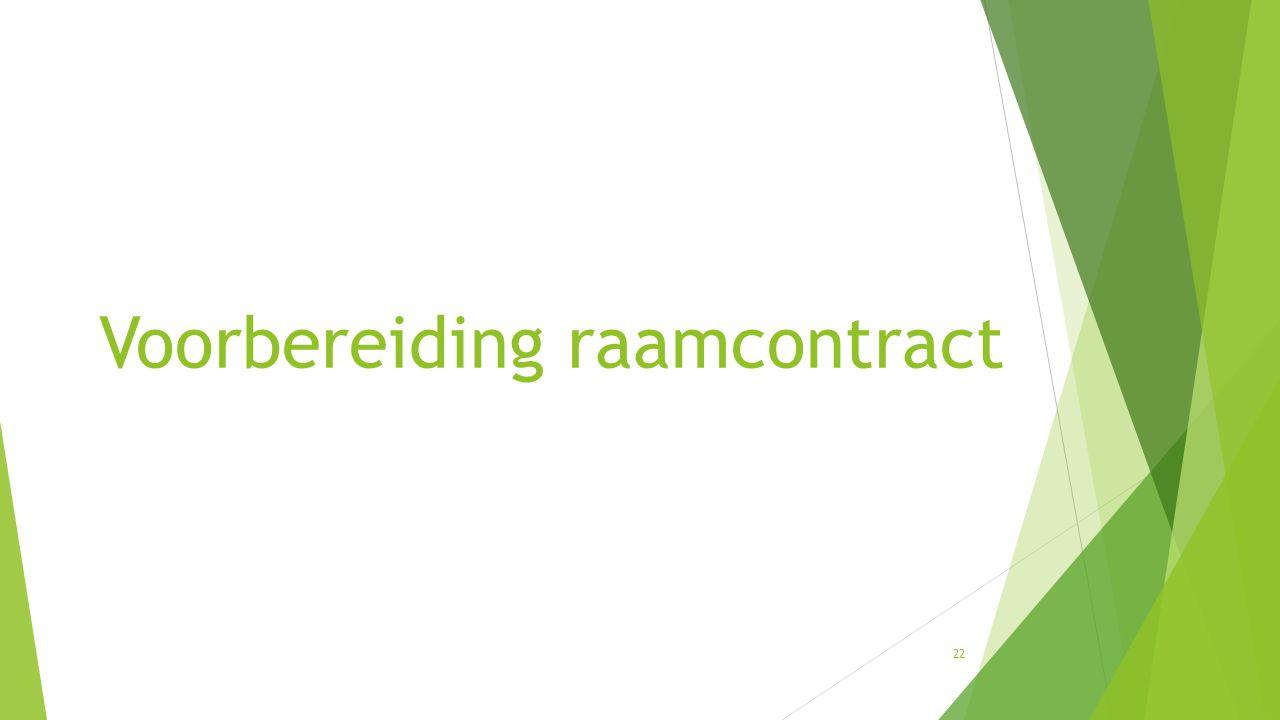 Voorbereiding raamcontract 22