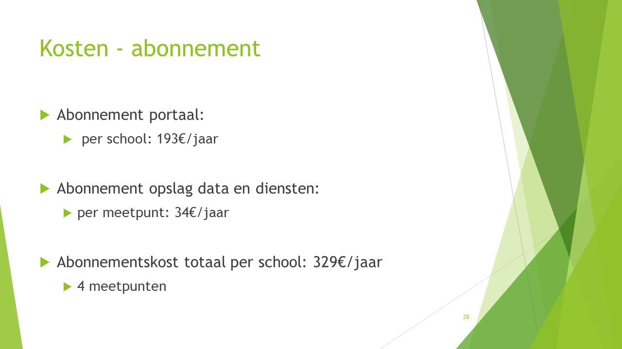 28 Kosten - abonnement  Abonnement portaal:  per school: 193€/jaar  Abonnement opslag data en diensten:  per meetpunt: 34€/jaar  Abonnementskost totaal per school: 329€/jaar  4 meetpunten