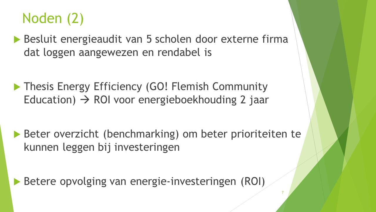 7  Besluit energieaudit van 5 scholen door externe firma dat loggen aangewezen en rendabel is  Thesis Energy Efficiency (GO! Flemish Community Educa