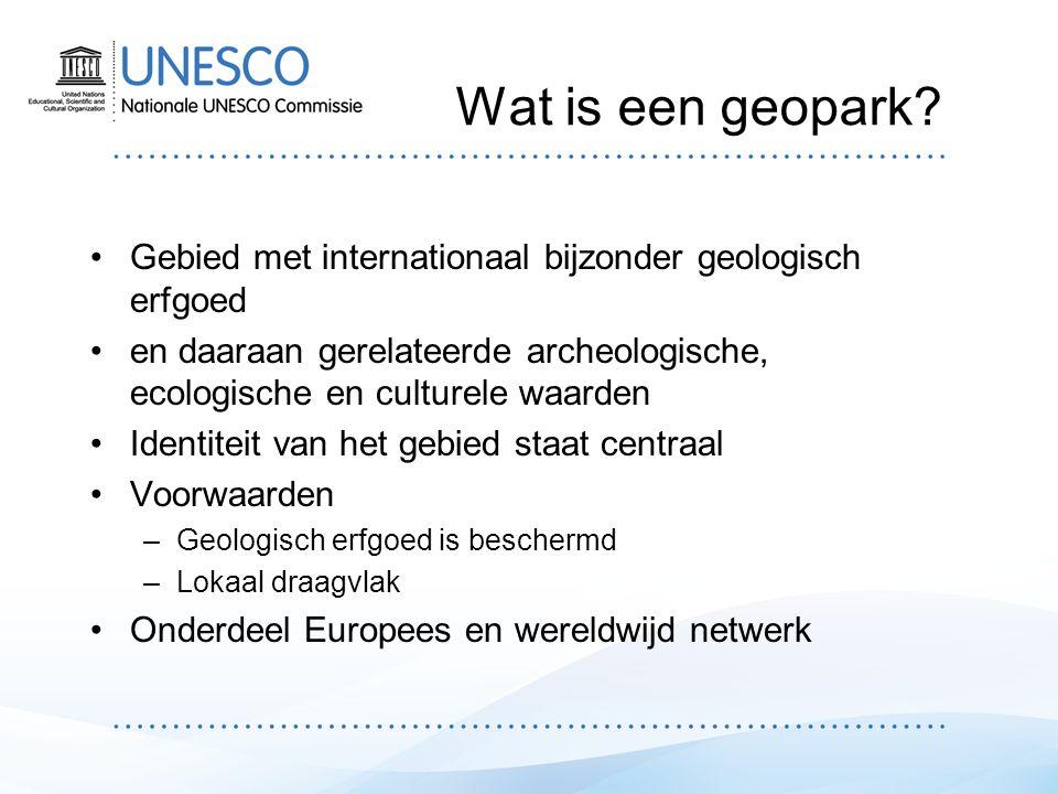 Global Geoparks Network (GGN) Platform voor internationale samenwerking en uitwisseling Samenwerking in projecten en initiatieven –M.n.