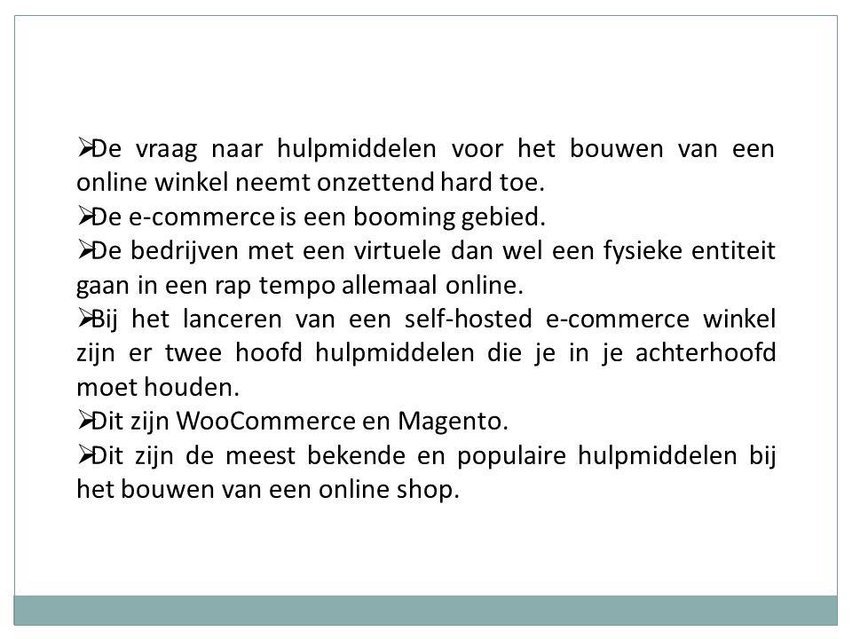  De vraag naar hulpmiddelen voor het bouwen van een online winkel neemt onzettend hard toe.  De e-commerce is een booming gebied.  De bedrijven met