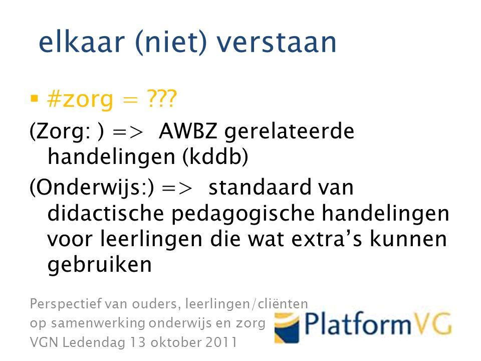 Perspectief van ouders, leerlingen/cliënten op samenwerking onderwijs en zorg VGN Ledendag 13 oktober 2011 elkaar (niet) verstaan  #zorg = ??.