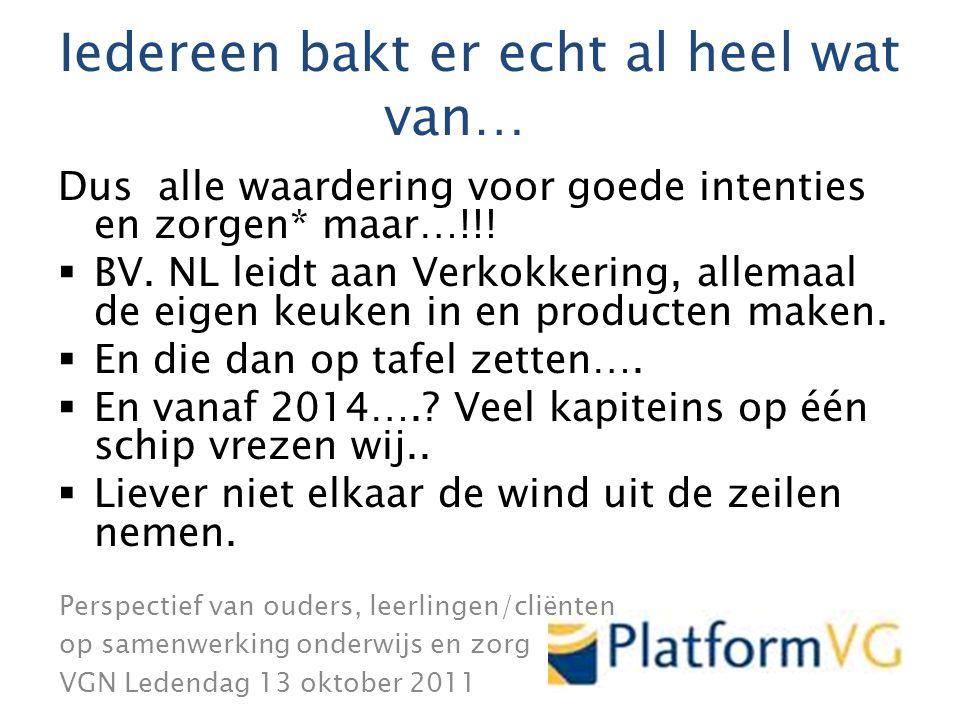 Perspectief van ouders, leerlingen/cliënten op samenwerking onderwijs en zorg VGN Ledendag 13 oktober 2011 .