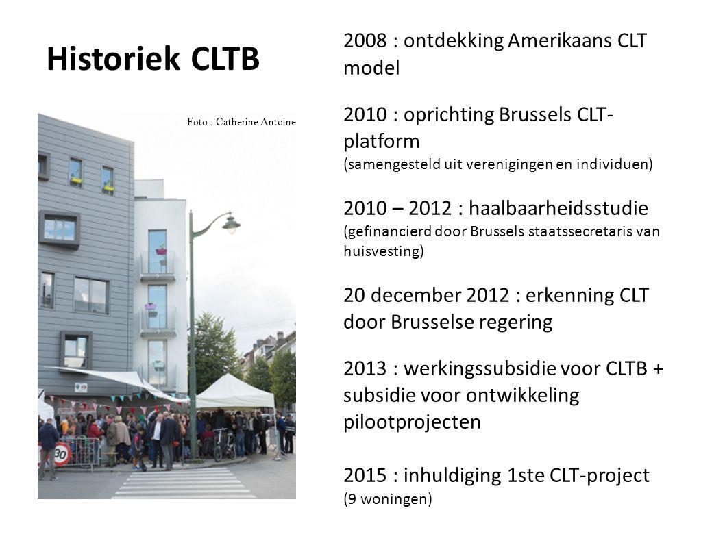 2008 : ontdekking Amerikaans CLT model 2010 : oprichting Brussels CLT- platform (samengesteld uit verenigingen en individuen) 2010 – 2012 : haalbaarheidsstudie (gefinancierd door Brussels staatssecretaris van huisvesting) 20 december 2012 : erkenning CLT door Brusselse regering 2013 : werkingssubsidie voor CLTB + subsidie voor ontwikkeling pilootprojecten 2015 : inhuldiging 1ste CLT-project (9 woningen) Foto : Catherine Antoine Historiek CLTB