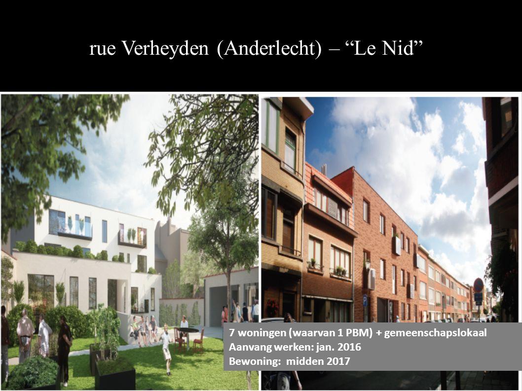 rue Verheyden (Anderlecht) – Le Nid 7 woningen (waarvan 1 PBM) + gemeenschapslokaal Aanvang werken: jan.