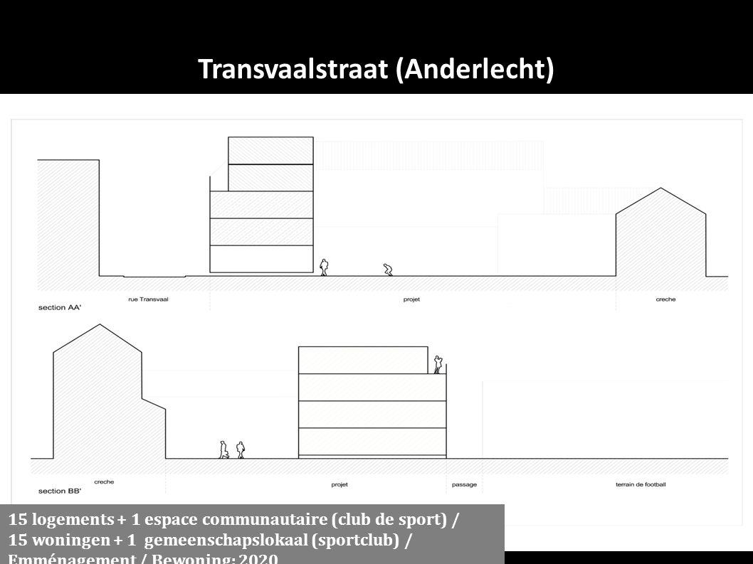 Transvaalstraat (Anderlecht) 15 logements + 1 espace communautaire (club de sport) / 15 woningen + 1 gemeenschapslokaal (sportclub) / Emménagement / Bewoning: 2020