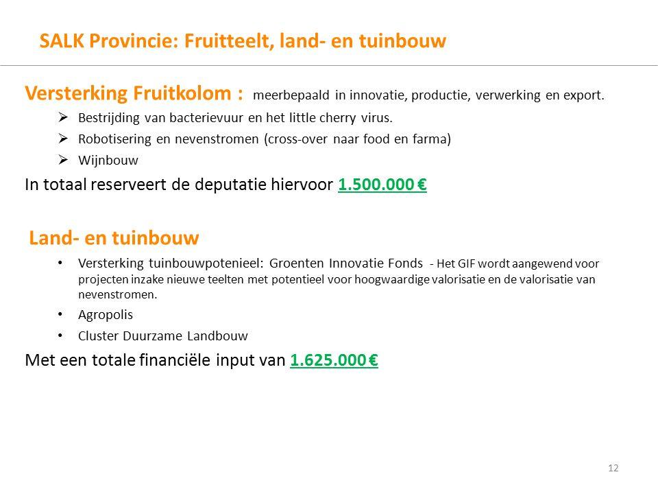 SALK Provincie: Fruitteelt, land- en tuinbouw Versterking Fruitkolom : meerbepaald in innovatie, productie, verwerking en export.