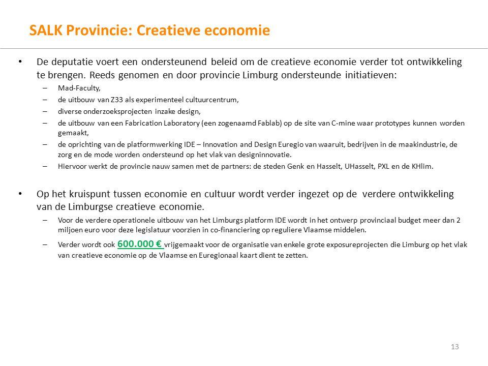 SALK Provincie: Creatieve economie De deputatie voert een ondersteunend beleid om de creatieve economie verder tot ontwikkeling te brengen.