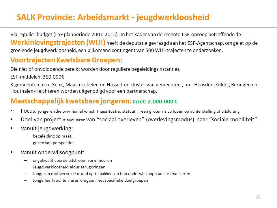 SALK Provincie: Arbeidsmarkt - jeugdwerkloosheid Via regulier budget (ESF planperiode 2007-2013) : In het kader van de recente ESF-oproep betreffende de Werkinlevingstrajecten (WIJ!) heeft de deputatie gevraagd aan het ESF-Agentschap, om gelet op de groeiende jeugdwerkloosheid, een bijkomend contingent van 500 WIJ!-trajecten te onderzoeken.