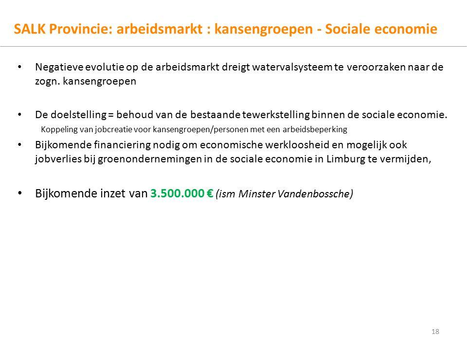 SALK Provincie: arbeidsmarkt : kansengroepen - Sociale economie Negatieve evolutie op de arbeidsmarkt dreigt watervalsysteem te veroorzaken naar de zogn.
