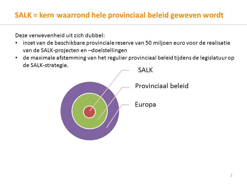 SALK = kern waarrond hele provinciaal beleid geweven wordt 2 SALK Provinciaal beleid Europa Deze verwevenheid uit zich dubbel: inzet van de beschikbare provinciale reserve van 50 miljoen euro voor de realisatie van de SALK-projecten en –doelstellingen de maximale afstemming van het regulier provinciaal beleid tijdens de legislatuur op de SALK-strategie.