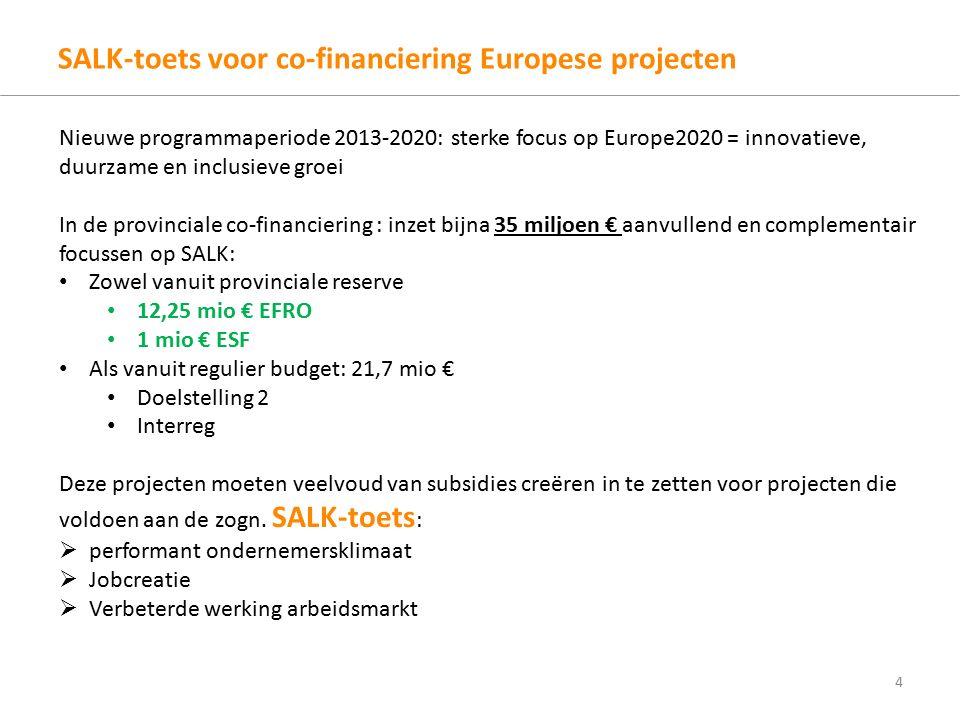 SALK-toets voor co-financiering Europese projecten 4 Nieuwe programmaperiode 2013-2020: sterke focus op Europe2020 = innovatieve, duurzame en inclusieve groei In de provinciale co-financiering : inzet bijna 35 miljoen € aanvullend en complementair focussen op SALK: Zowel vanuit provinciale reserve 12,25 mio € EFRO 1 mio € ESF Als vanuit regulier budget: 21,7 mio € Doelstelling 2 Interreg Deze projecten moeten veelvoud van subsidies creëren in te zetten voor projecten die voldoen aan de zogn.