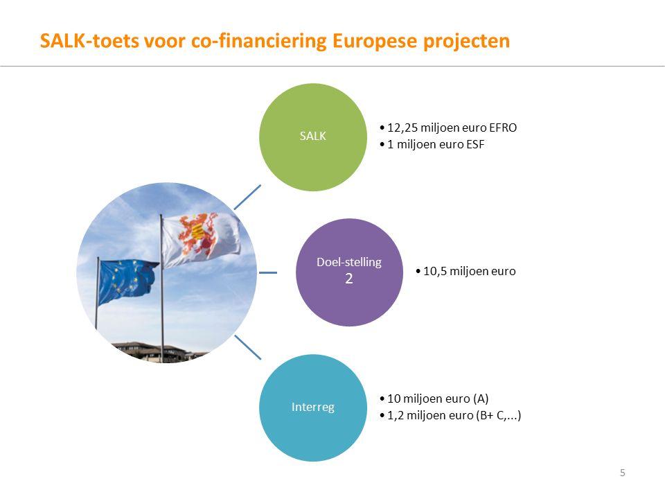 SALK-toets voor co-financiering Europese projecten 5 SALK 12,25 miljoen euro EFRO 1 miljoen euro ESF Doel-stelling 2 10,5 miljoen euro Interreg 10 miljoen euro (A) 1,2 miljoen euro (B+ C,...)