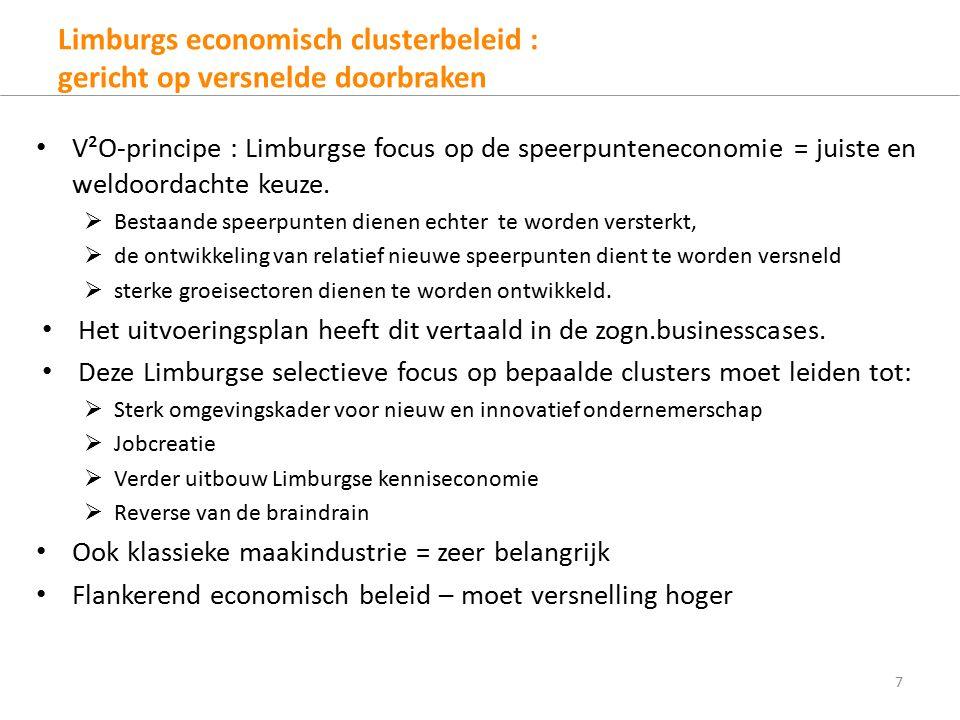 Limburgs economisch clusterbeleid : gericht op versnelde doorbraken V²O-principe : Limburgse focus op de speerpunteneconomie = juiste en weldoordachte keuze.