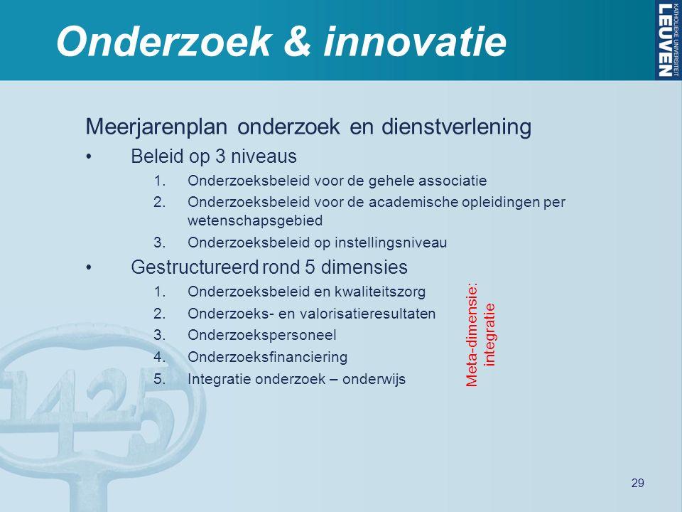 Onderzoek & innovatie Meerjarenplan onderzoek en dienstverlening Beleid op 3 niveaus 1.Onderzoeksbeleid voor de gehele associatie 2.Onderzoeksbeleid voor de academische opleidingen per wetenschapsgebied 3.Onderzoeksbeleid op instellingsniveau Gestructureerd rond 5 dimensies 1.Onderzoeksbeleid en kwaliteitszorg 2.Onderzoeks- en valorisatieresultaten 3.Onderzoekspersoneel 4.Onderzoeksfinanciering 5.Integratie onderzoek – onderwijs Meta-dimensie: integratie 29