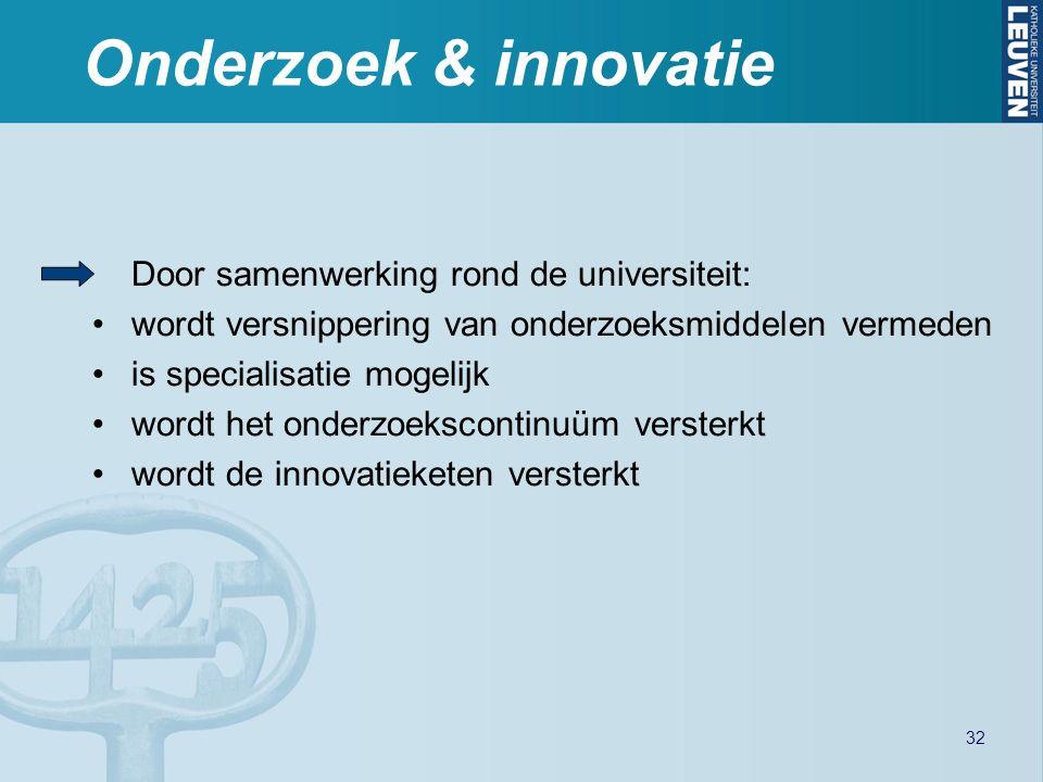 Onderzoek & innovatie Door samenwerking rond de universiteit: wordt versnippering van onderzoeksmiddelen vermeden is specialisatie mogelijk wordt het onderzoekscontinuüm versterkt wordt de innovatieketen versterkt 32