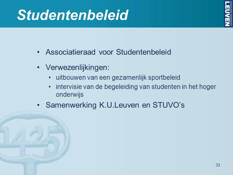 Studentenbeleid Associatieraad voor Studentenbeleid Verwezenlijkingen: uitbouwen van een gezamenlijk sportbeleid intervisie van de begeleiding van studenten in het hoger onderwijs Samenwerking K.U.Leuven en STUVO's 33