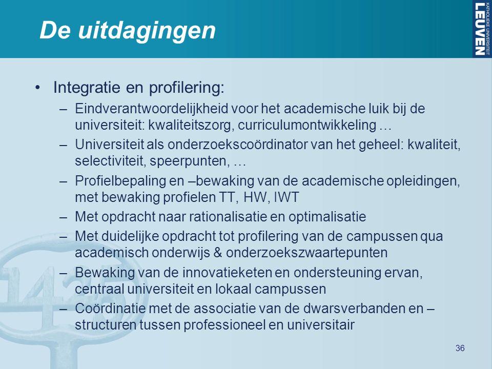 De uitdagingen Integratie en profilering: –Eindverantwoordelijkheid voor het academische luik bij de universiteit: kwaliteitszorg, curriculumontwikkeling … –Universiteit als onderzoekscoördinator van het geheel: kwaliteit, selectiviteit, speerpunten, … –Profielbepaling en –bewaking van de academische opleidingen, met bewaking profielen TT, HW, IWT –Met opdracht naar rationalisatie en optimalisatie –Met duidelijke opdracht tot profilering van de campussen qua academisch onderwijs & onderzoekszwaartepunten –Bewaking van de innovatieketen en ondersteuning ervan, centraal universiteit en lokaal campussen –Coördinatie met de associatie van de dwarsverbanden en – structuren tussen professioneel en universitair 36