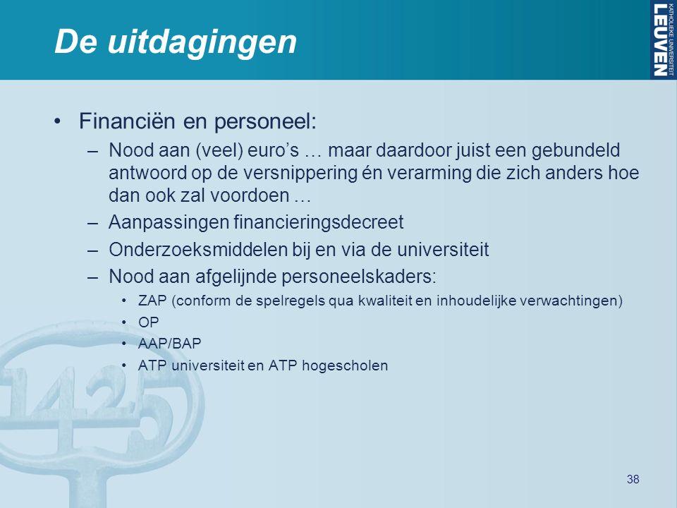 De uitdagingen Financiën en personeel: –Nood aan (veel) euro's … maar daardoor juist een gebundeld antwoord op de versnippering én verarming die zich anders hoe dan ook zal voordoen … –Aanpassingen financieringsdecreet –Onderzoeksmiddelen bij en via de universiteit –Nood aan afgelijnde personeelskaders: ZAP (conform de spelregels qua kwaliteit en inhoudelijke verwachtingen) OP AAP/BAP ATP universiteit en ATP hogescholen 38