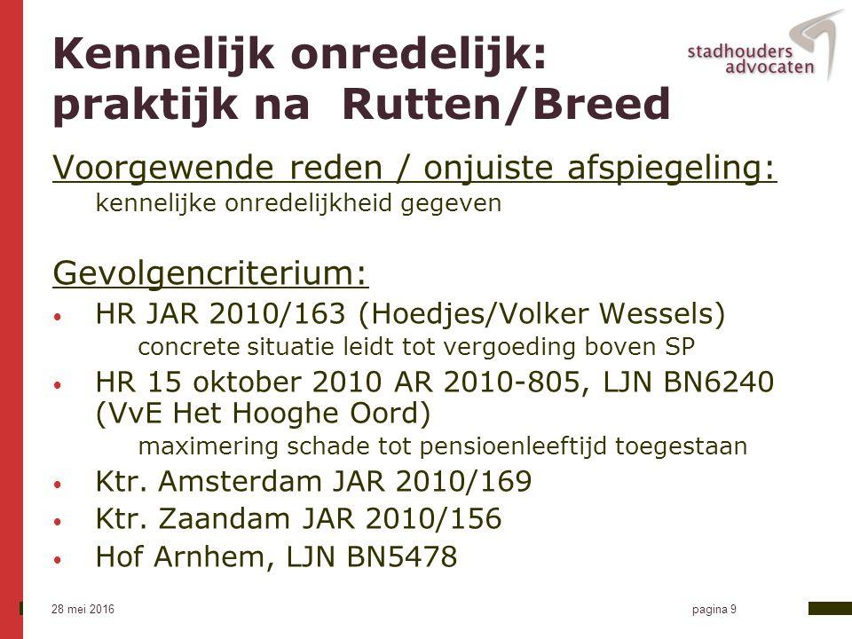 28 mei 2016 pagina 10 Rb.Utrecht na Rutten/Breed Kennelijk onredelijk lid 2 sub b: 1.