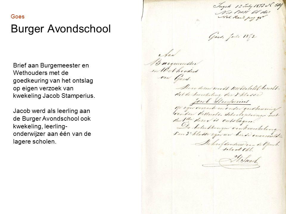 Brief aan Burgemeester en Wethouders met de goedkeuring van het ontslag op eigen verzoek van kwekeling Jacob Stamperius.