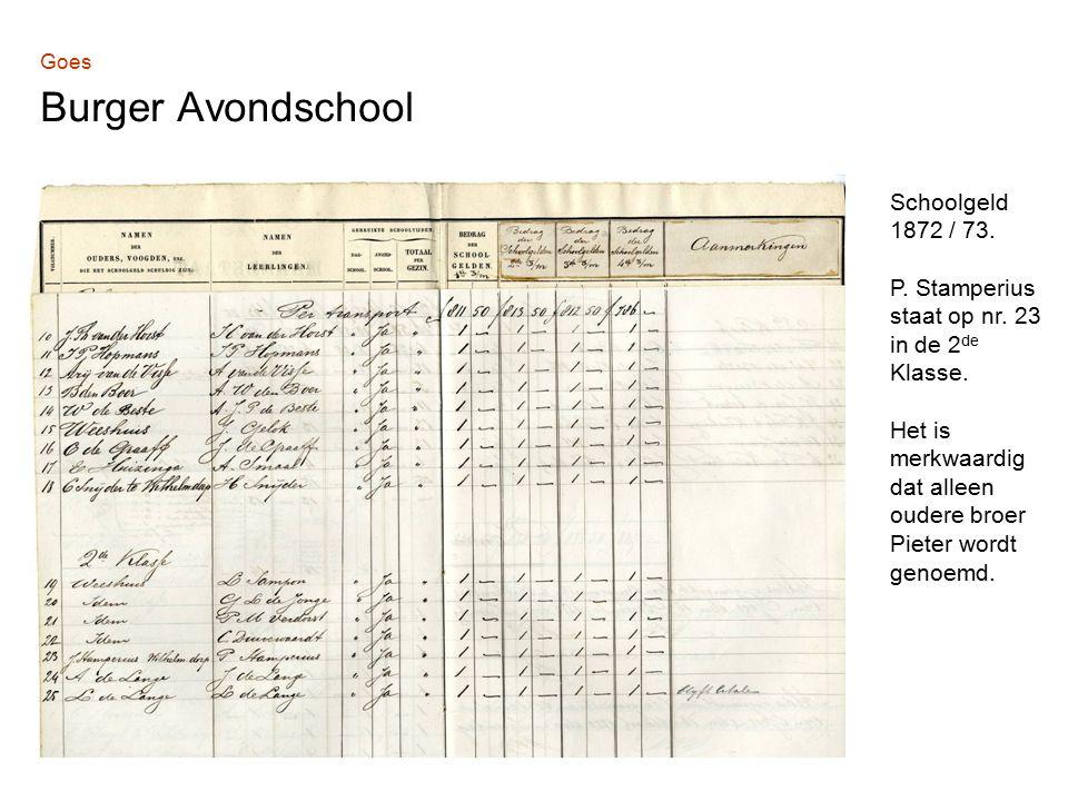 Goes Burger Avondschool Schoolgeld 1872 / 73. P. Stamperius staat op nr.