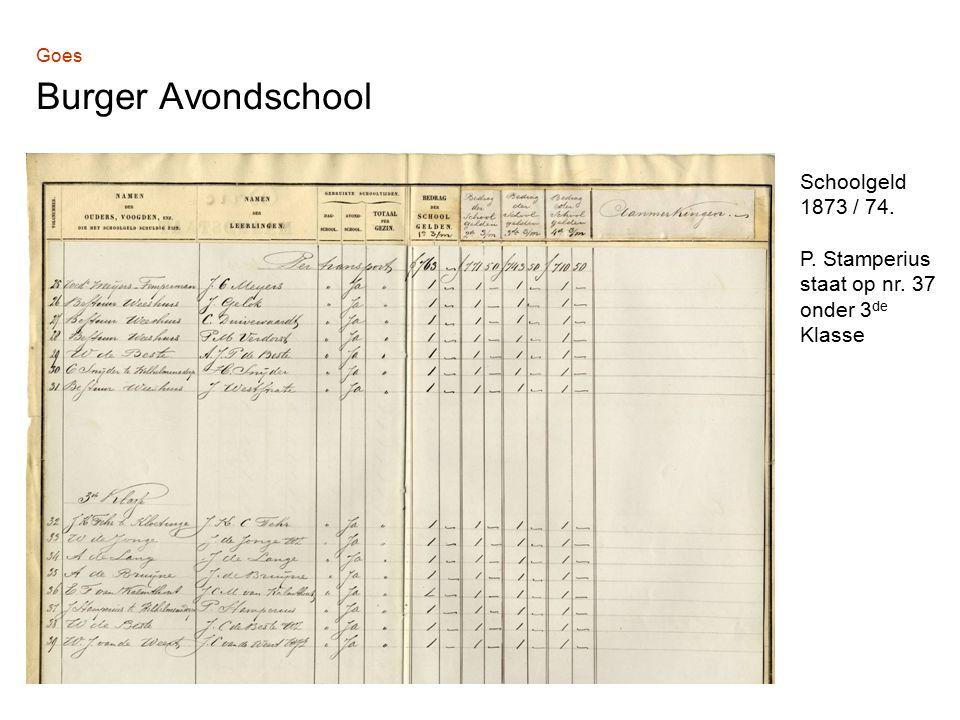 Goes Burger Avondschool Schoolgeld 1873 / 74. P. Stamperius staat op nr. 37 onder 3 de Klasse