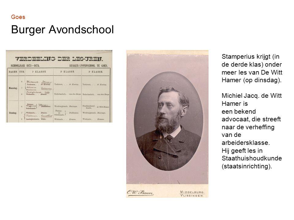 Stamperius krijgt (in de derde klas) onder meer les van De Witt Hamer (op dinsdag).