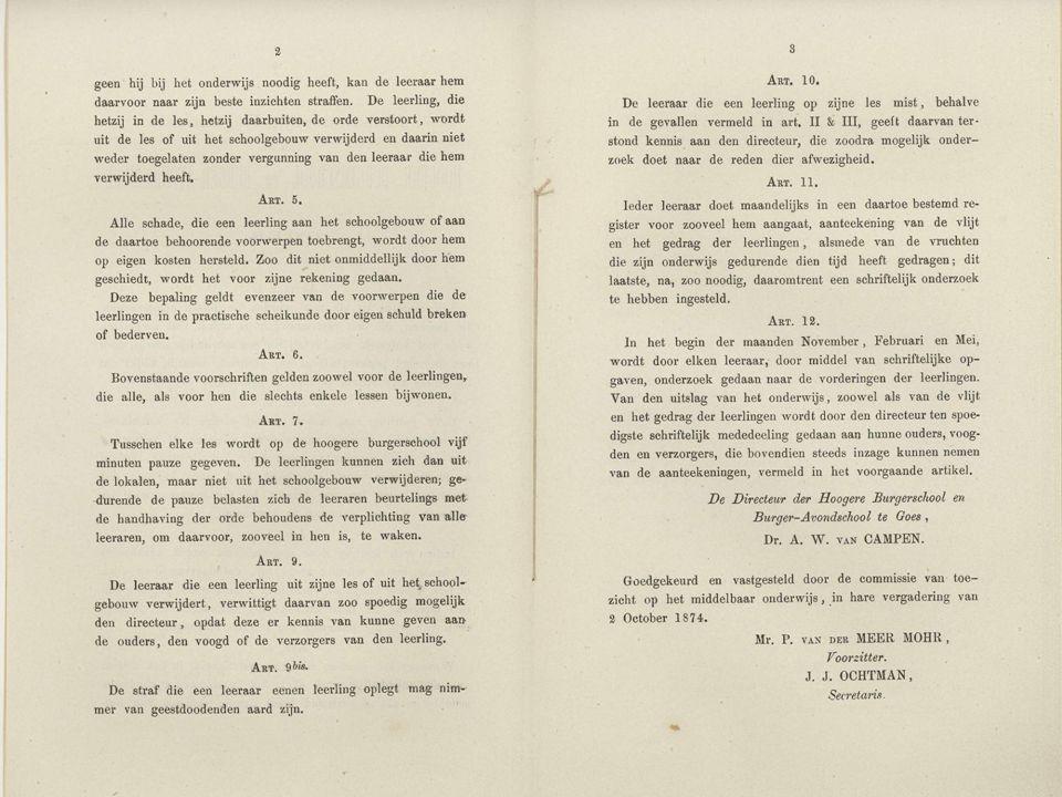 Goes Burger Avondschool De verordening voor het openbaar middelbaar onderwijs in Goes in 1874.